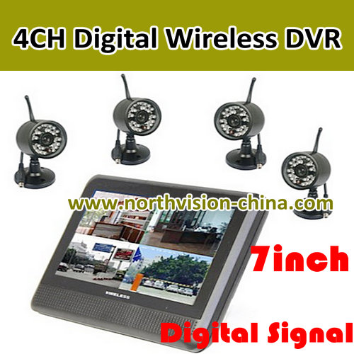 7 inch wireless dvr with 4pcs digital cctv camera and 15 meters night vision