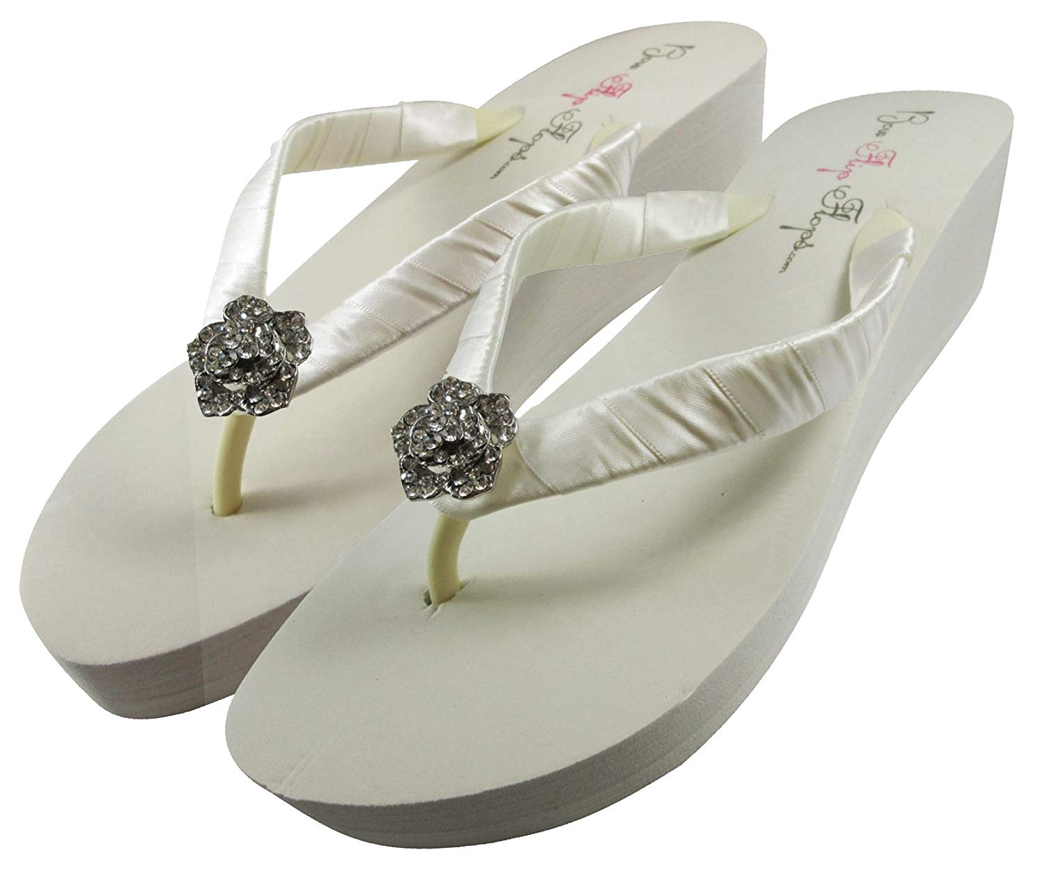 0a5ad11d5b99 Bridal Flip Flops Wedding Ivory Wedge White Platform Bride Rose Heel Satin Rhinestone  Flip Flops