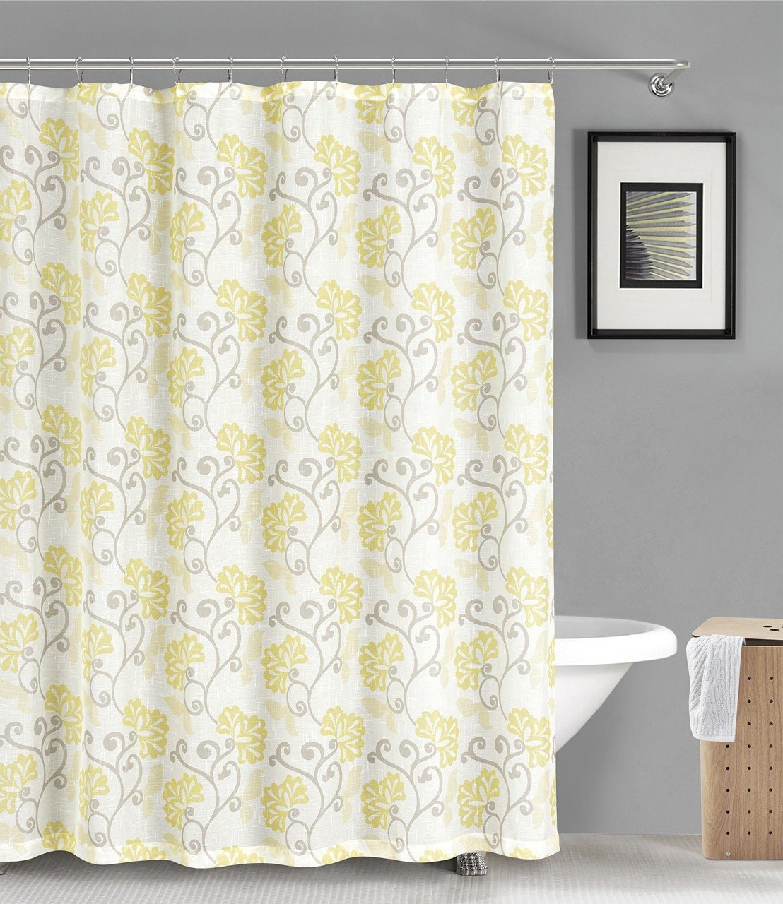 Buy Fabric Shower Curtain: Semi-Sheer Floral Design, 70\