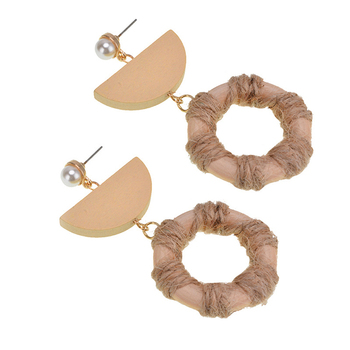 Bulk Wholesale Ladies Earring Geometry Wooden Jewellery Circle Earring