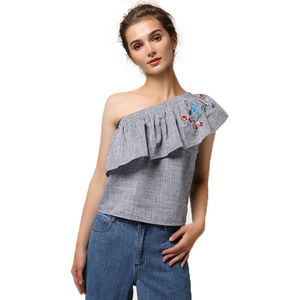Slant shoulder design vest Embroidered lady's blouse Designer crop top