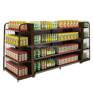 Good Quality Q235B Grocery Store Shop Shelf With Wire Mesh Back Panel