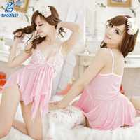 Baby Pink Beautiful Two Piece Of Sexy Transparent Girls Lingerie Women Plus Size Sexy Nighty