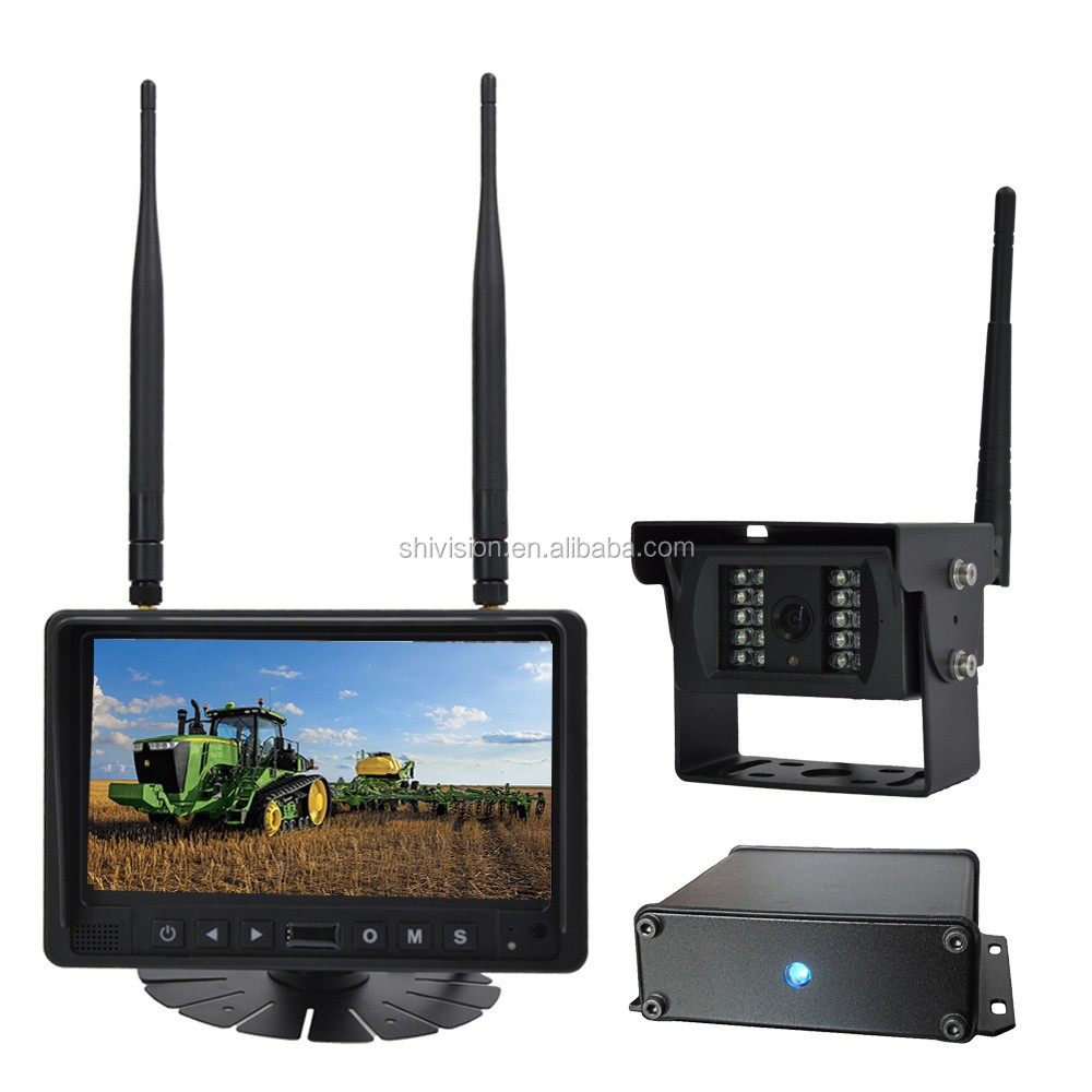 digital non interference wireless tractor rear view camera with 7 quad monitor and. Black Bedroom Furniture Sets. Home Design Ideas