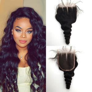 Top Grade human hair lace closure 4x4 loose wave brazilian peruvian malaysian mongolian virgin closure with baby hair