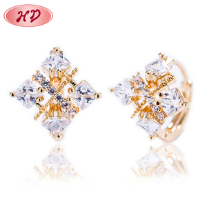 Guangdong Fashion Druzy Crystal Stone Yellow Gold Earrings