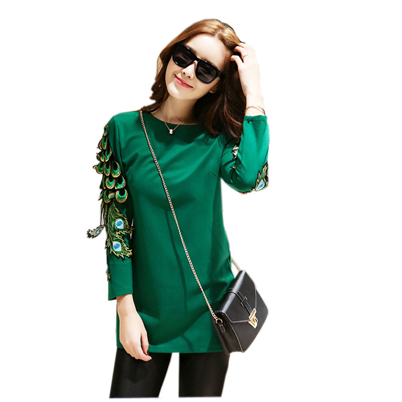 new 2016 fashion new super peacock feather wings t shirt women long sleeve tee shirt femme. Black Bedroom Furniture Sets. Home Design Ideas