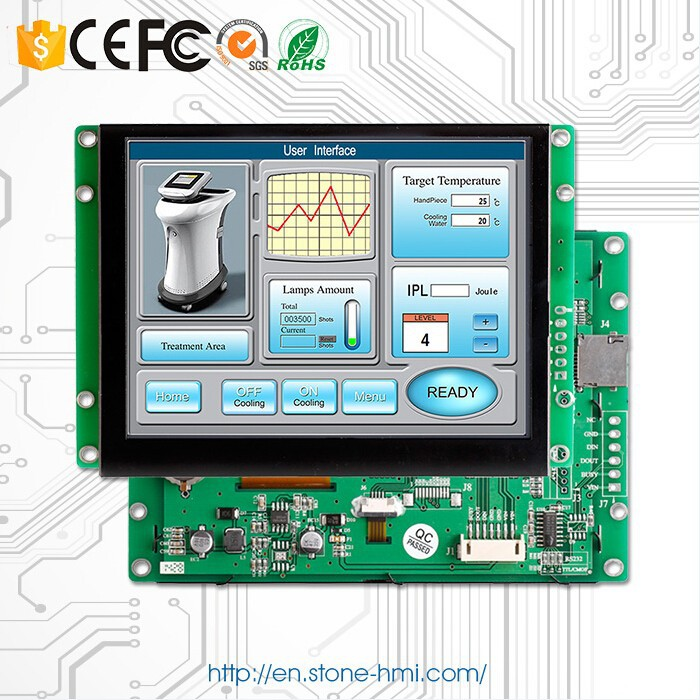 5.6 inch LCD HMI with TFT touchscreen controller board and UART port for smart home control system