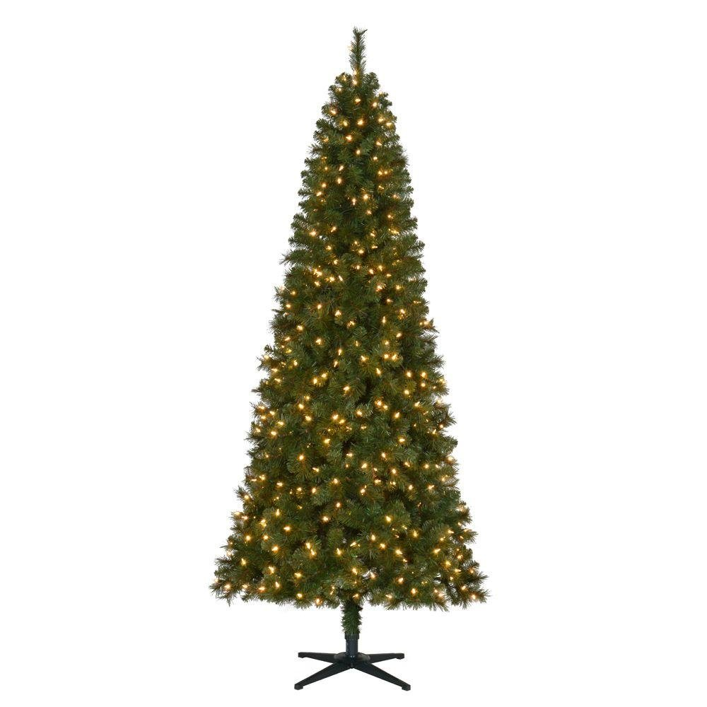 7.5 ft. Pre-Lit LED Wesley Slim Spruce Quick-Set Artificial Christmas Tree with Warm White Lights