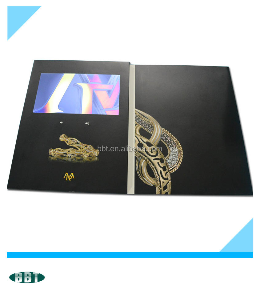 7 inch Leather Media Advertising Video Brochure/Video Cards/Video in Print