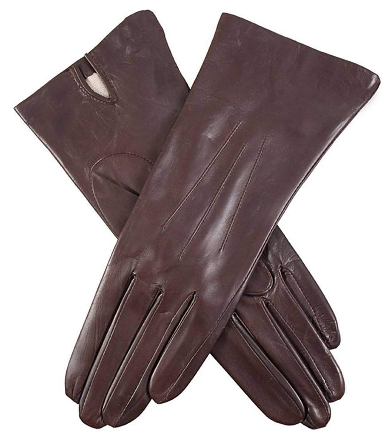 Dents Womens Felicity Silk Lined Plain Hairsheep Leather Gloves - Mocca