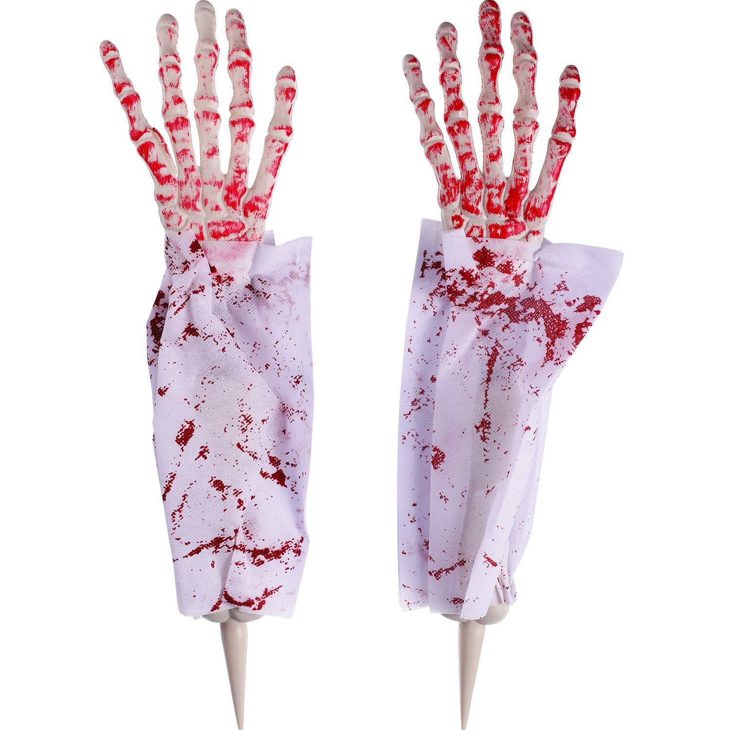 Boao Halloween Zombie Hands and Arms Zombie Lawn Stakes Bloody Fake Arms Hands for Halloween Party Supplies