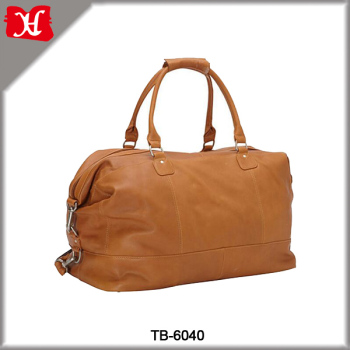 High Quality Orange Leather Travel Bag Overnight Duffel Women Weekend Bags Womens