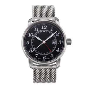 OEM custom simple double time GMT movt diver mesh strap watches men
