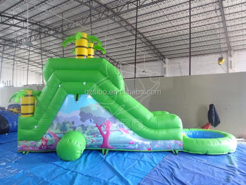 Fresh green Funny Summer Water Party Slide with Pool