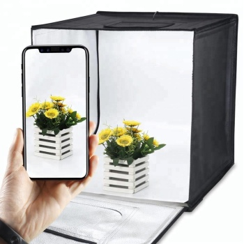 50cm Portable Cube Box Black LED Light Table Top Photo Shooting Tent for Commercial Product Photo Shoot