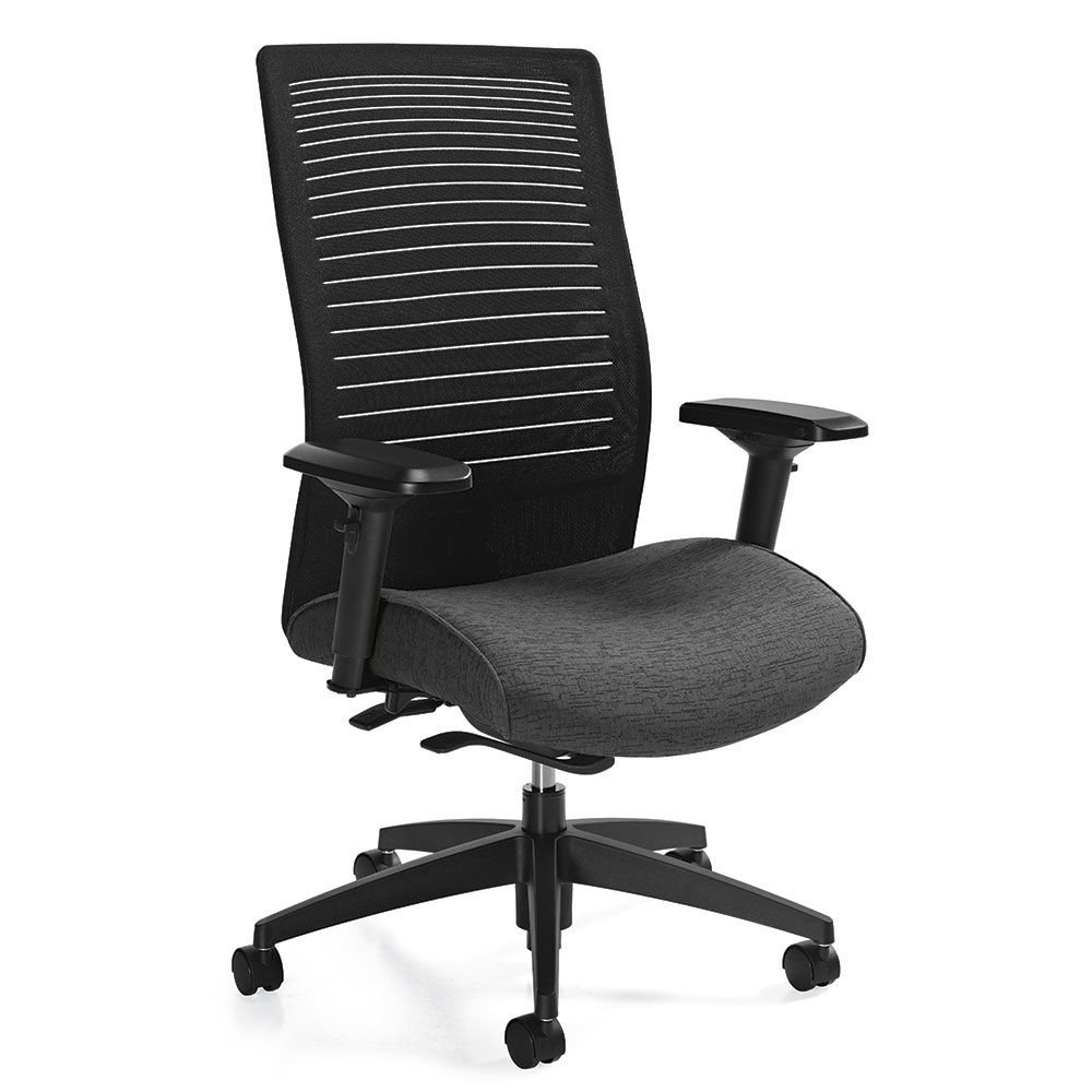 """Loover High Back Weight Sensing Synchro-Tilt Chair Dimensions: 25.5""""W x 24""""D x 42.5""""H Seat Dimensions: 20""""Wx17.5-19.5""""Dx16.5-20.25""""H Granite Rock Fabric Seat/Black Mesh Back/Black Base"""
