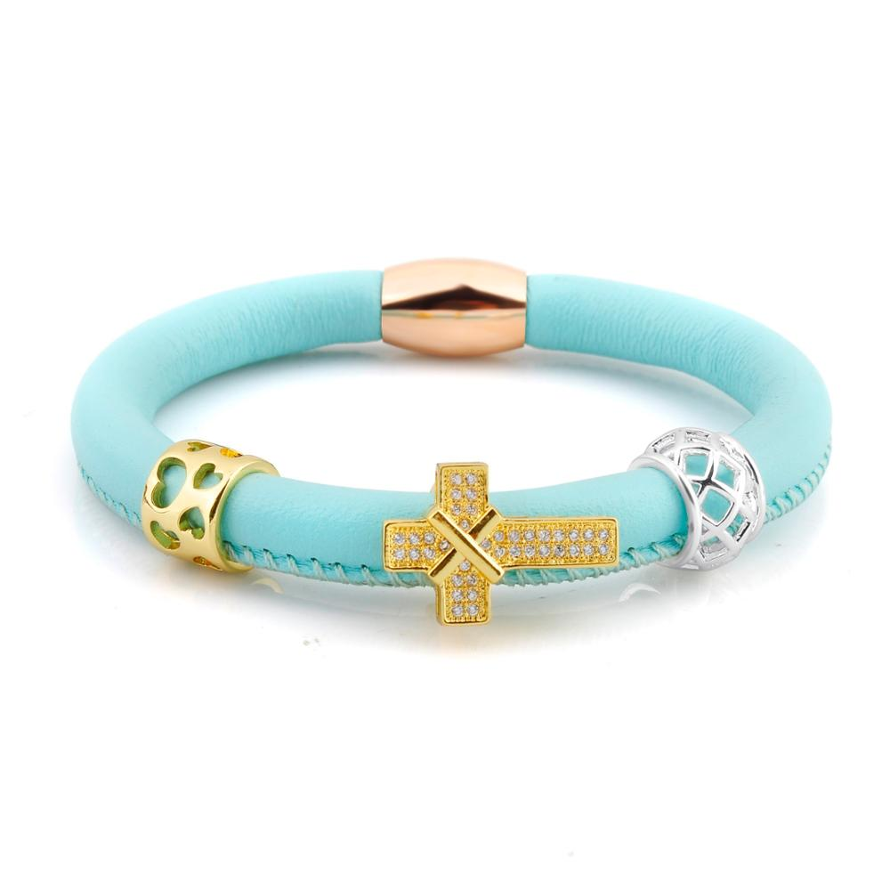 Accessories For Women Diy Leather Charm Cross Bracelet Womens