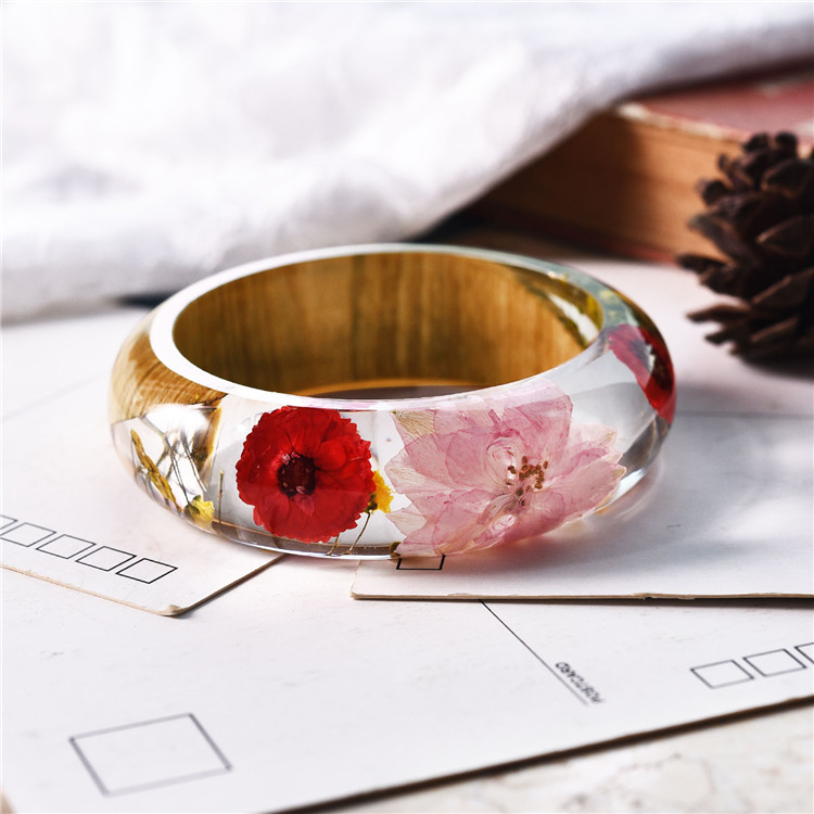 2018 NEW Dried Flower Bangle Natural Real Flower Wood Resin JewelryBangle