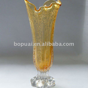 yellow glass vase/fancy glass vases/glass factory