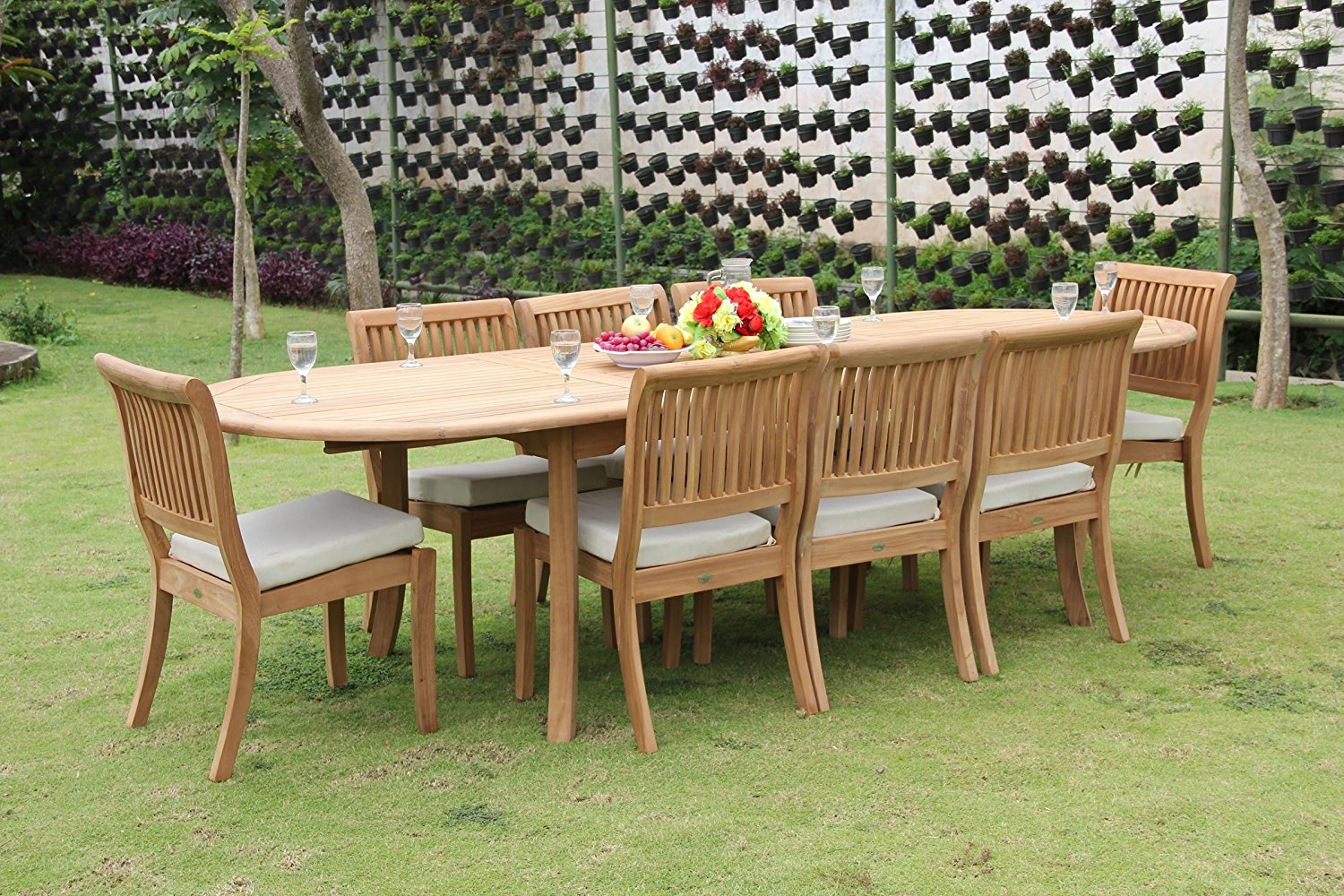 """Grade-A Teak Wood Dining Set 8 Seater 9 Pc: 117"""" Double Extensions Oval Dining Table and 8 Arbor Stacking Armless Chairs #WFDSAB26"""