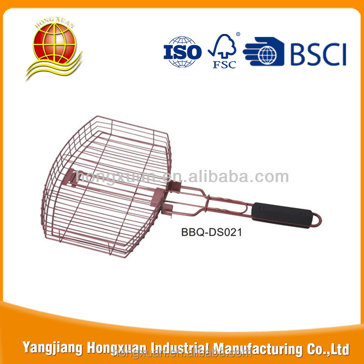 China groothandel websites non-stick BBQ Grill Mand met cool touch handvat