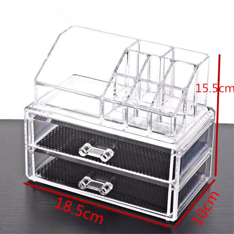 Nieuwe Ontwerp Make Cosmetica Sieraden Organizer Clear Acryl Display Box Opslag 3 Laden acryl make up organizer