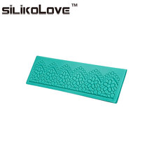 Hot Selling 3D Lovely Flower Lace Mat Shape Non-Stick Custom Fondant Silicone Cake Molds Decorating Tools
