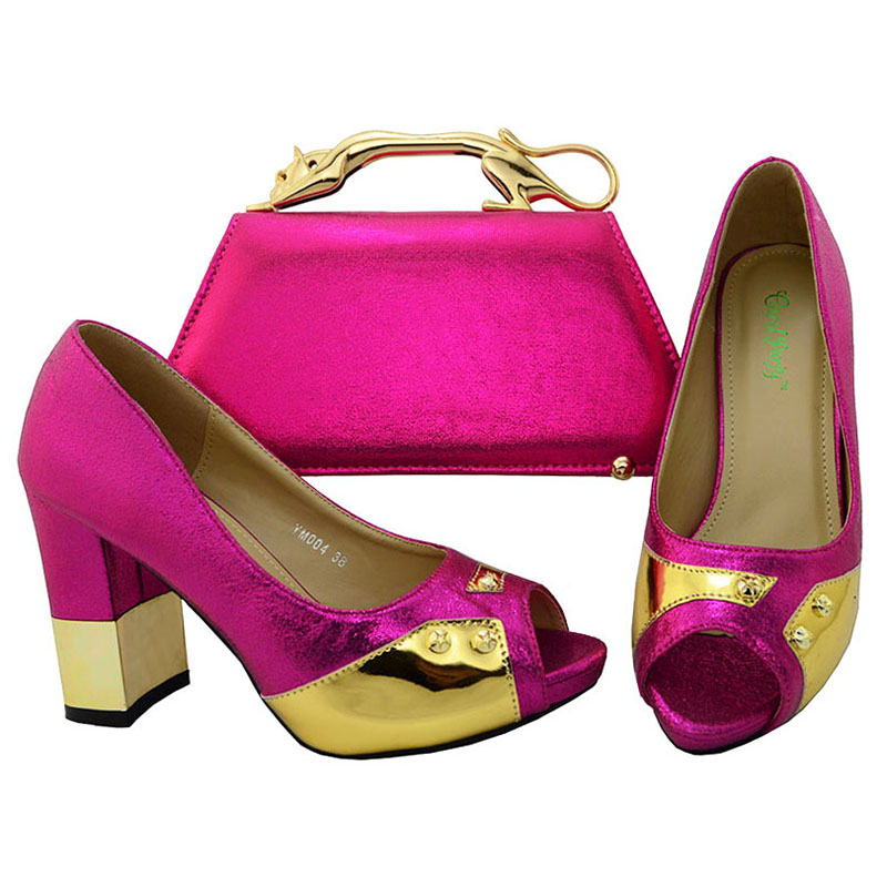 Italian shoes PU Bags wedding Women Set Shoes Shoes Matching and Leather Party Bag High Heel qStWn4c