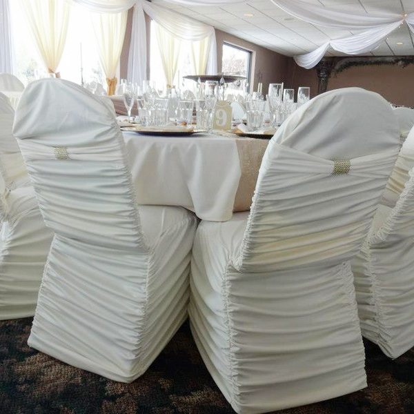 White Ruched Cheap Spandex Chair Cover with Band