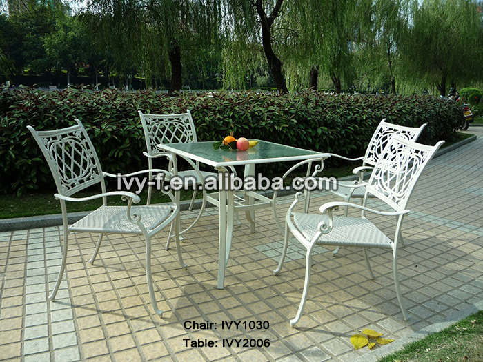 Rattan Chair White/outdoor Synthetic Wicker Chair/dining Table Glass Fixing