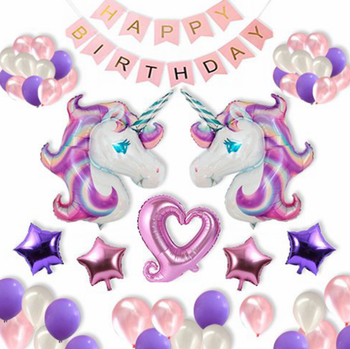 Unicorn Party Decorations For Kids With Pink White Purple Latex Balloons Pink Banner Heart Foil Latex Girls Birthday Party