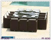 Restaurant wicker furniture for 12 people PE rattan outdoor dining set