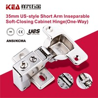 "[K35-1/2""] 35mm Cup US Style Short Arm Hinge Soft Close Inseparable Heavy Duty Cabinet Hinge"