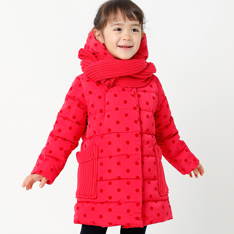 Winter new design girl's hooded down coat long section thick down coat