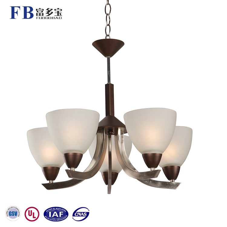Most Competitive 5 Lights Iron Glass Fit E27 Lamp Bulb Chandelier Pendant Light