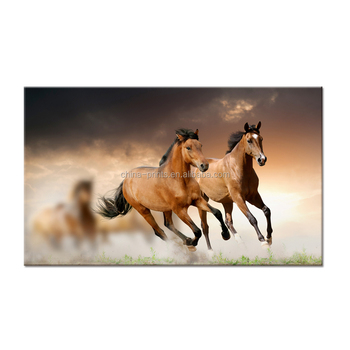 Animal Canvas Wall Art Horses Running On The Field Canvas Prints ...
