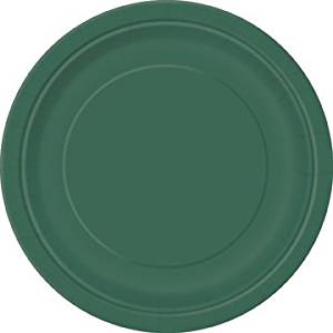 "16 Round Paper Plates 9"" inch Birthday Wedding Party Tableware Decorations (Forrest Green)"