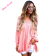 Pink Crochet Lace Trim Relaxed V-Neck Long Sleeve Bohemian Cute Tunic Tops