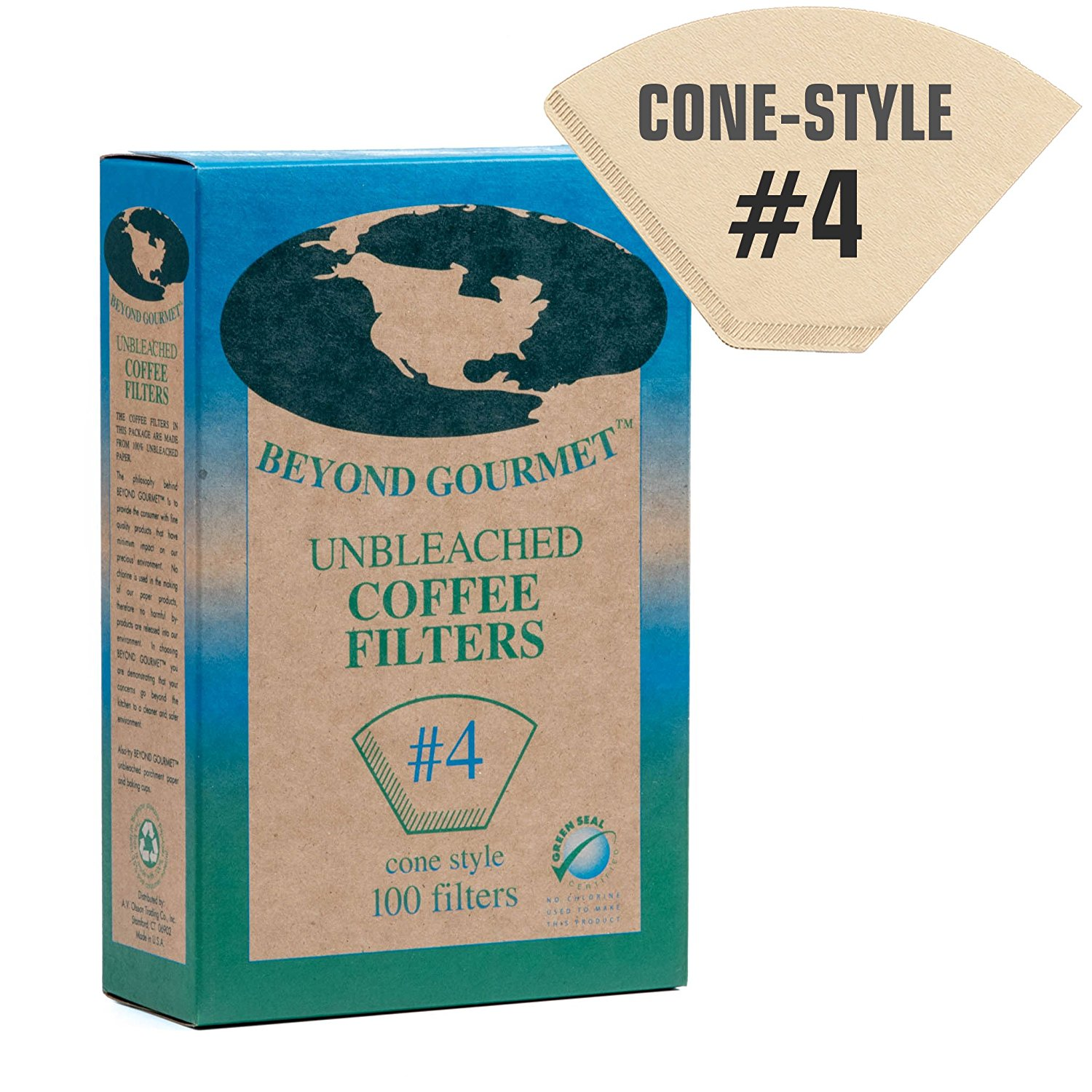 #4 Cone Paper Coffee Filters - Brown, Unbleached, Chlorine-free (#4, 100 Filters)