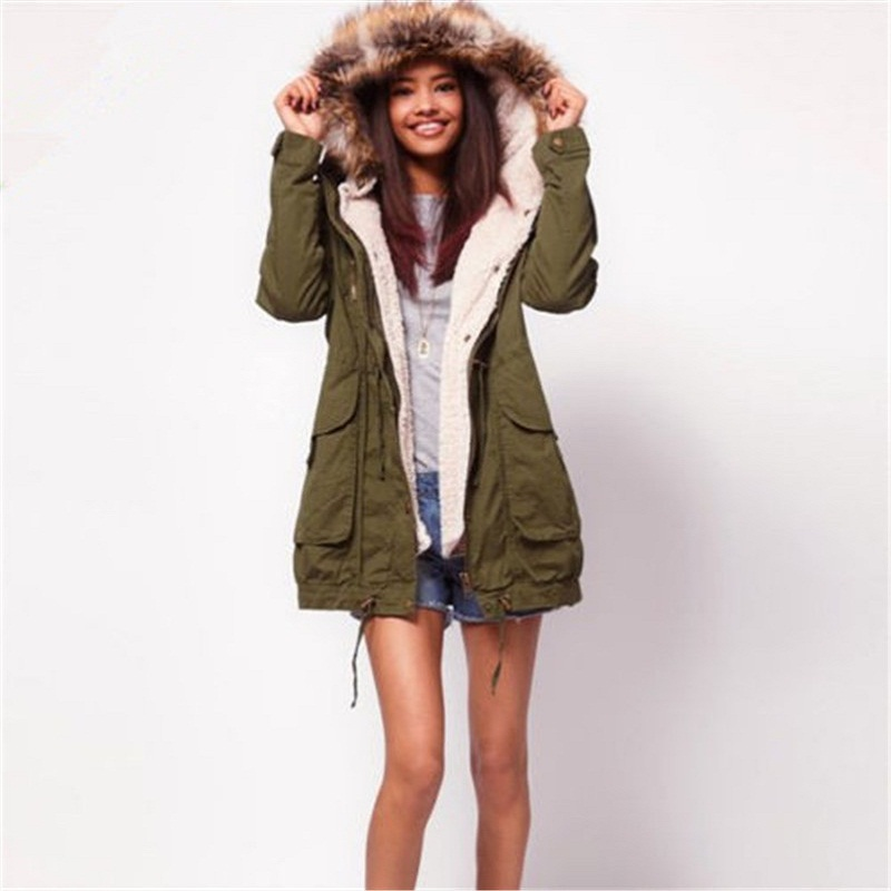 c1e2e4b6979 Get Quotations · 2015 Winter New Top Quality Faux Fur Hooded Army Green Outerwear  Women Overcoat Large Size Thick