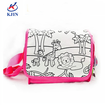 2018 Funny Novelty Diy Coloring Satchel Bag With Zoo Painting For
