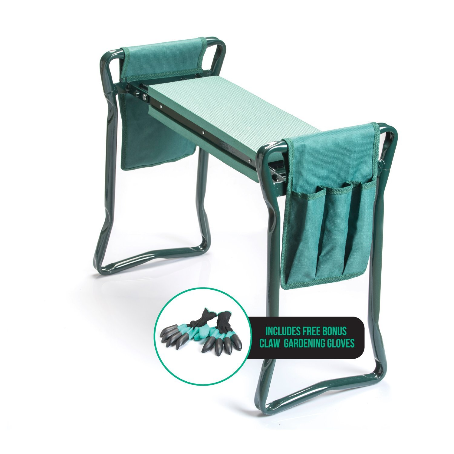Haven Homes Garden Kneeler - Folding Seat & Kneeler with 2 Garden Tool Pouches + Free Bonus Gardening Gloves
