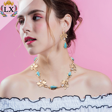 NLX-01178 wholesale fashion cheap necklace and earring sets latest women wedding jewelry sets accessories gold necklace set
