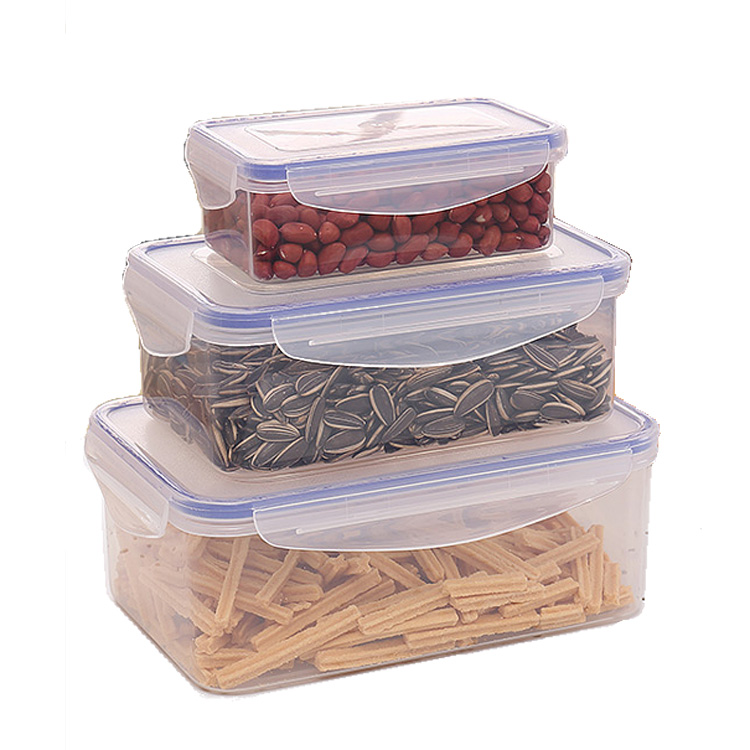 Super seal rectangular BPA free stackable box set/air tight meal prep food containers plastic