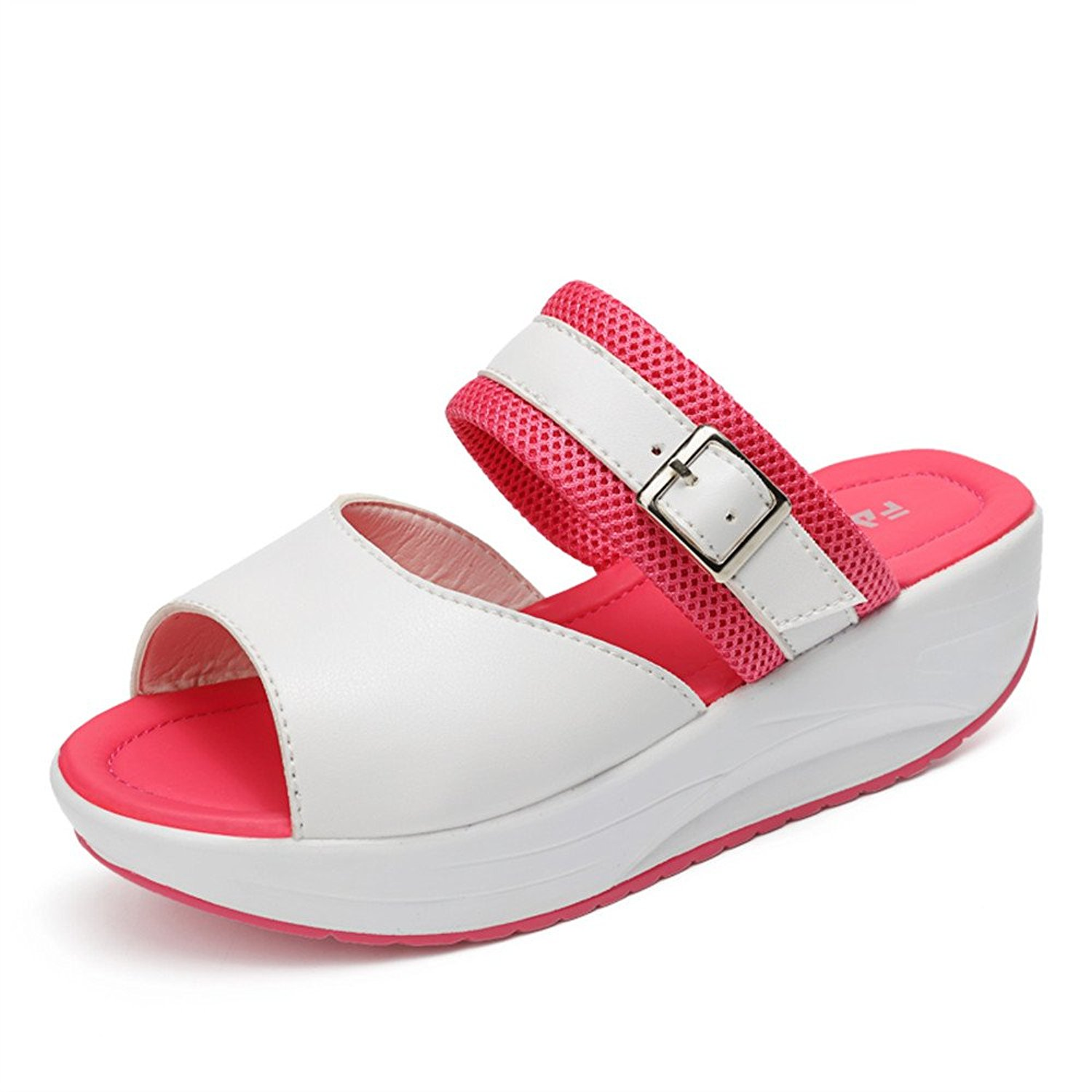 0aac4abc479 Get Quotations · ZYEN Women Sandals Peep Toe High Heels Wedge with Platform  Buckle Slippers Arch Support for Summer