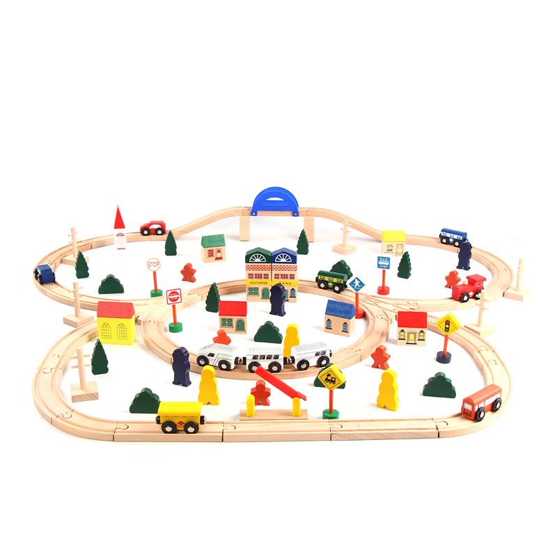 Beech Colorful Large Wooden Toy Train With Long Track Set 1 Year Old Buy Toy Train With Long Trackwooden Train Set 1 Year Oldwooden Train Station
