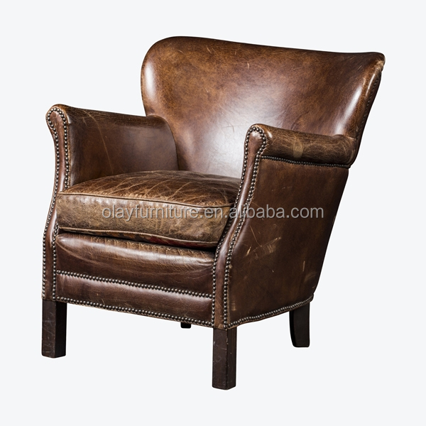 French Style Antique Wooden Armrest Accent Chair, Classic Wood Leather  Lounge Chair