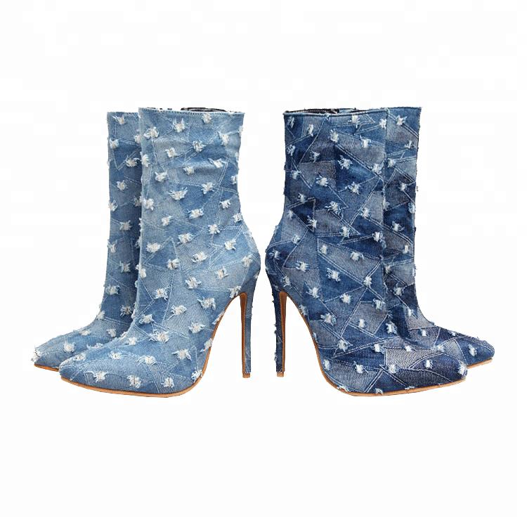 11bef37868a Casual Women Denim Stilettos Pointed Toe Zipper Frayed High Heels Cowboy  Boots - Buy Cowboy Boots,Casual Stiletto,Zipper Stiletto Product on ...