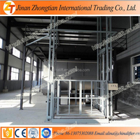Warehouse used hydraulic cargo lift electric guide rail goods elevator price